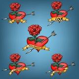 Placez Rose et les coeurs Image stock