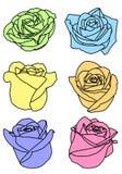 Placez six couleurs multi s'est levé des bourgeons illustration stock