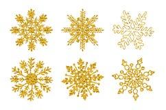 Placez six flocons de neige de texture de scintillement d'or d'isolement sur le fond blanc Illustration de vecteur illustration stock