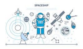 Placez sur l'espace, vaisseau spatial, y compris le transport, des planètes, objets relatifs, satellites Photo stock