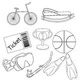 Placez une boule de bicyclette, illustration orange de vecteur de sports de basket-ball illustration stock