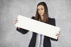 Placez votre lien, la publicité de femme d'affaires Image stock