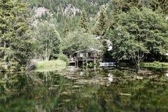 Placid alpine lake in Champoluc, Italy Royalty Free Stock Photo