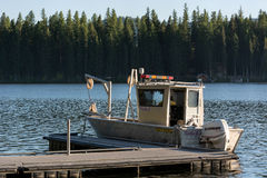 PLACID LAKE, MONTANA/USA - SEPTEMBER 20 : Boat on Placid Lake in Stock Image
