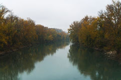 Classical autumn river view   Royalty Free Stock Image