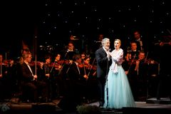 Placido Domingo & Micaela performs at Bahrain Stock Photo