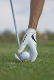 Placing ball with club next to ball Stock Photography