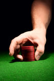 Placing Bet. With Gambling Chips Royalty Free Stock Images