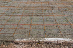 Placing concrete road construction Improve Royalty Free Stock Photos