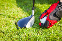 Placing golf ball Royalty Free Stock Photography