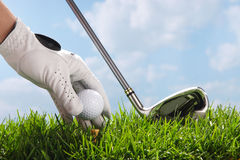 Placing golf ball on tee Stock Photography