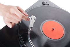 Placing the needle on a record Royalty Free Stock Photos