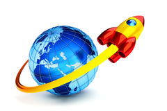 Placing the spaceship into a Earth orbit. Rocket s Stock Photo
