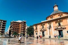 Placu De Los angeles Virgen Katedra kwadrat w Walencja Zdjęcia Royalty Free