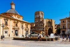 Placu De Los angeles Virgen Katedra kwadrat w Walencja Zdjęcia Stock