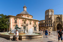 Placu De Los angeles Virgen Katedra kwadrat w Walencja Obraz Royalty Free