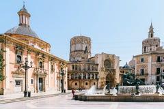 Placu De Los angeles Virgen Katedra kwadrat w Walencja Zdjęcie Royalty Free