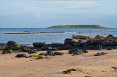Pladda Island and lighthouse Stock Images