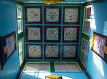 Plafond bleu dans le temple d'Arayabal Image libre de droits