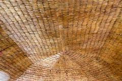 Plafond couvert de chaume d'un restaurant comme vu Jamaïque Image libre de droits