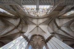 Plafond dans le monastère de Batalha Images libres de droits