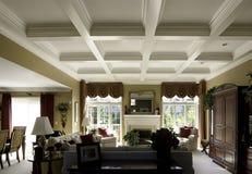 Plafond de Coffered dans une maison de luxe Images libres de droits
