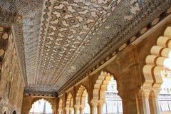 Plafond de Jai Mandir Mirror Palace en Amber Fort, Ràjasthàn, Images stock