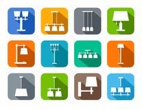 Plafond de lampes, table, extérieure, icônes de couleur Image libre de droits