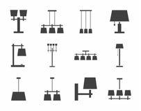 Plafond de lampes, table, extérieure, icônes de simple-couleur Photo libre de droits