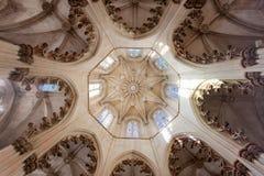 Plafond in het Klooster van Batalha Stock Foto