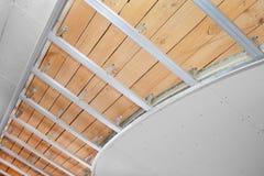 Plafond suspendu dans l'étape de la construction Images stock