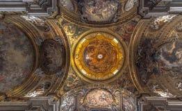 Plafond van de Gesú Kerk, Rome Stock Fotografie