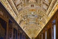 Plafond van Kaartengalerij in het museum van Vatikaan Stock Fotografie