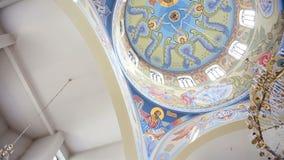 Plafond van orthodox de Kathedraal stock videobeelden