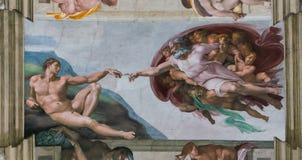 Plafond van Sistine-Kapel in de Stad van Vatikaan stock afbeelding