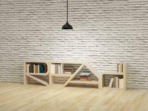 Plafondlamp met boekenkast op houten vloerbakstenen muur Royalty-vrije Stock Foto's