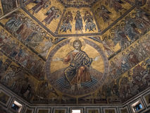 Plafondmozaïek in Baptistery in Florence royalty-vrije stock foto's