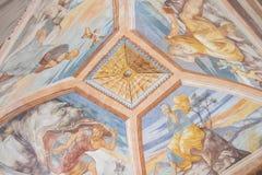 Plafondschilderijen van de kapel van het Ziekenhuis DE Santiago, Ube Stock Foto