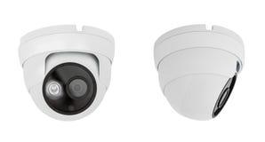 Plafondtype van de veiligheidscamera op witte achtergrond met c wordt geïsoleerd dat stock afbeelding