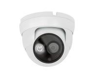 Plafondtype van de veiligheidscamera op witte achtergrond wordt geïsoleerd die stock fotografie