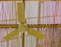 Plafondventilator het hangen op het dak, fundamenteel koelsysteem voor tropische en warme klimaten stock afbeeldingen