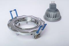 Plafoniera messa e lampada del LED a lui Fotografia Stock