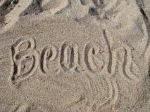 Plage écrite en sable Photo libre de droits