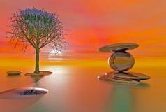 Plage équilibrée d'imagination de pierres Images stock