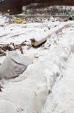 Plage après tempête lourde en Pologne Photos stock
