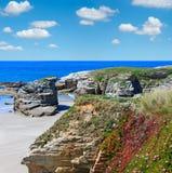 Plage arénacée atlantique Espagne d'Illas Images libres de droits