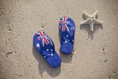 Plage australienne de lanières de drapeau Images libres de droits