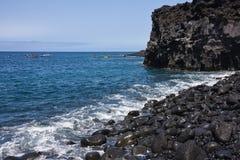 Plage avec des cailloux à la La Palma Photos libres de droits