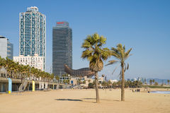 Plage à Barcelone Photo stock