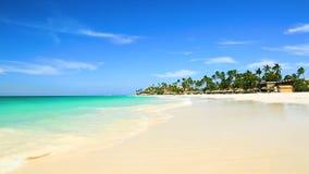 Plage blanche de sable de beauté étonnante d'île d'Aruba Eau de mer de turquoise et ciel bleu banque de vidéos
